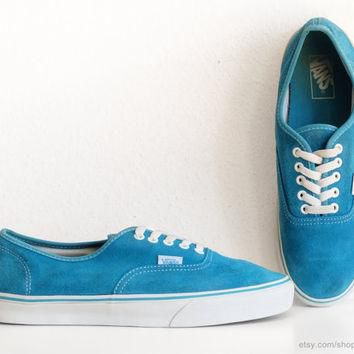Turquoise suede Vans Authentic sneakers, vintage skate shoes in vibrant teal blue leat