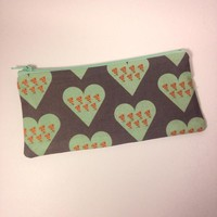 Mint Pizza Love Pencil/Make up Pouch