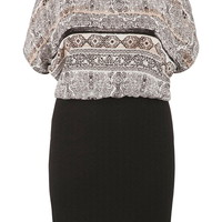 plus size patterned 2fer dress with texture