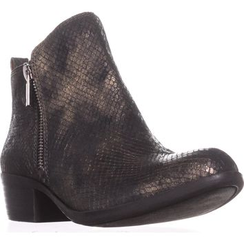 Lucky Brand Basel Side Zip Ankle Boots, Black/Gold, 6.5 US / 36.5 EU