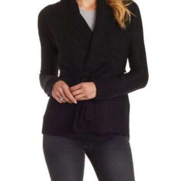 Black Belted Shawl Collar Cardigan Sweater by Charlotte Russe