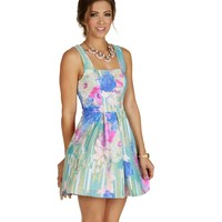 Sale-pink Burst Of Watercolor Skater Dress