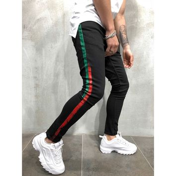 Skinny Fit Striped Jeans - Green/Red