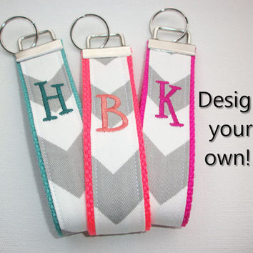 Key FOB / KeyChain / Wristlet  - initial monogram on your choice of chevron preppy -  custom