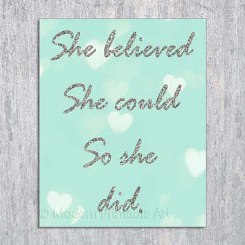 She Believed She Could So She Did Wall Art PRINTABLE, Mint Wall Art, Mint Nursery, Aqua Silver Glitter Typography, Girl Bedroom Decor, 8x10