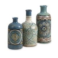 IMAX 73137-3 Kabir Hand Painted Bottles, 3-Pack