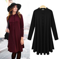 Long Sleeves Buttoned Flare Dress