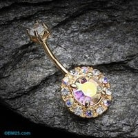 Golden Aurora Sparkle Belly Button Ring