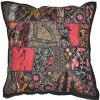 """24"""" Large Pillow for sofa Decorative Throw Pillow for Couch, Embroidered Cushion Cover, Ethnic Pillow, Cottage Pillow, Tribal Outdoor pillow"""