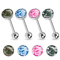 Camouflage Print Inlayed 316L Surgical Steel Tongue Ring 14ga