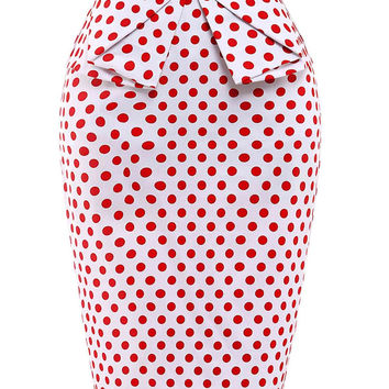Women High Waist Polka Dots & Floral Pencil Casual Retro Vintage Cotton Skirt