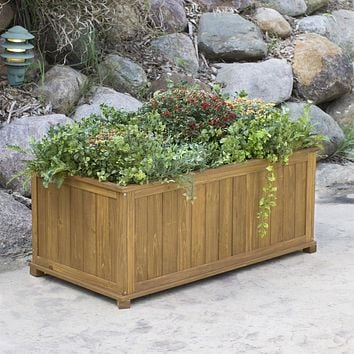 Outdoor 41-in Durable Raised Patio Planter Box in Oak Wood Finish