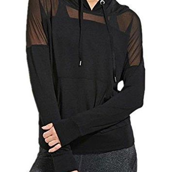 Ussuperstar Womens Casual Sheer Mesh Long Sleeve Sunscreen Gauze Hoodie Blouse