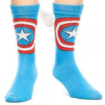 Captain America Logo With Wings Marvel Comics Licensed Adult Crew Socks (6 - 12)