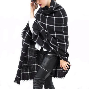 Autumn Winter Women Plaid Tartan Scarf Designer Cashmere Shawl Pashmina Cape Blanket Scarves Fashion Warm Long Knitted Scarves