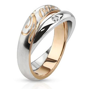 "Combinatin of Single CZ Paved Band Ring with ""LOVE"" Engraved Band Ring Stainless Steel"