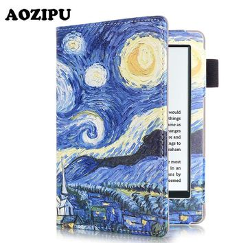 """Magnet Wake/Sleep Case Cover for Amazon New Kindle 2016 8th 6"""" PU Leather Painted inner frame for New Kindle 2016 6inch"""