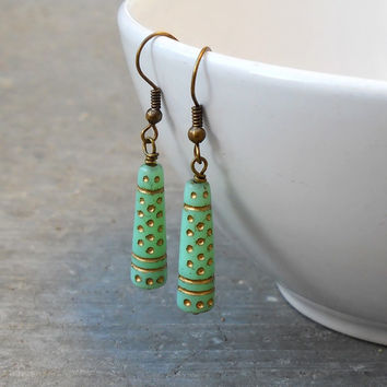 Bohemian Chic, Jade Painted Glass Earrings