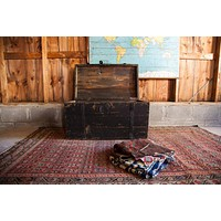 Antique Primitive Black Wooden Trunk