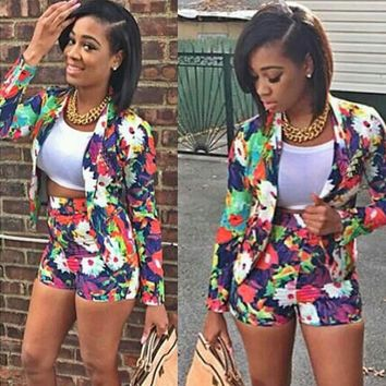 Floral Print Long Sleeve Blazer Hot Shorts Two-Piece Set for Women