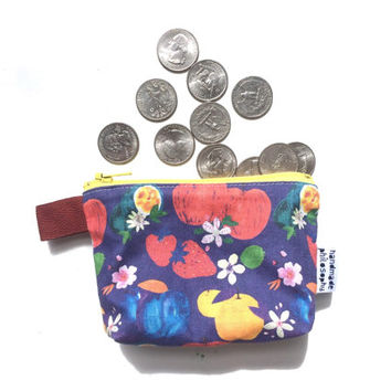 Fruits and Blossoms Divided Mini Flat Bottom Pouch / Coin Purse (handmade philosophy's pattern)