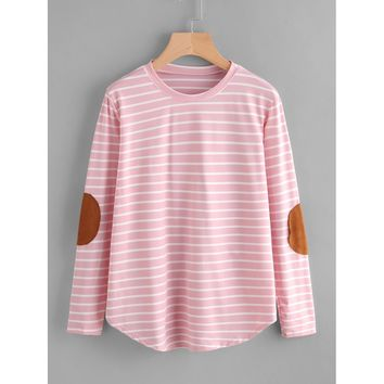 Elbow Patch Striped T-shirt Casual