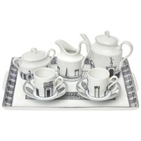 "Italian Piero Fornasetti Porcelain Tea/Coffee Set Titled ""Architettura"""