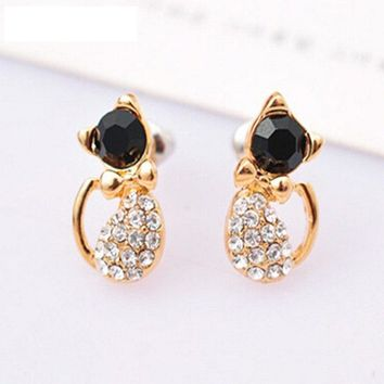 1 Pair New Bronco Fashion Animal Bijoux Cute Crystal Bow Gem Kitty Cat Stud Earrings For Women Wedding Girl Jewelry ZX111