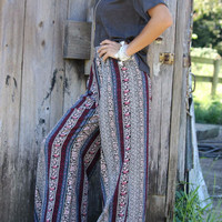 Floral Daydream Multi Print Striped Wide Leg Pants With Elastic Waistband