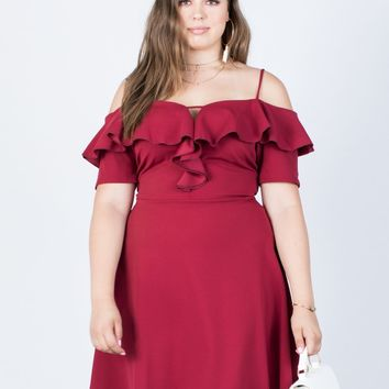 Plus Size Spin Me Ruffled Dress