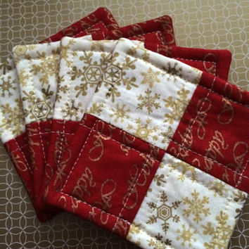 Hostess Gift Set - Quilted Coaster Set - Party Gift - Christmas Coasters - Holiday Coasters  - Christmas Mug Rugs