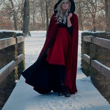 Red Velvet Cape Red Riding Hood Trimmed in Faux Fur-Custom to Order