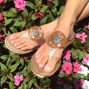 Monogram Hudson Stitch Sandals – I Love Jewelry
