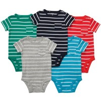 "Carter's 5 Pack Boys Striped Pocket ""T"" Bodysuit Set- Newborn through 24 Months"
