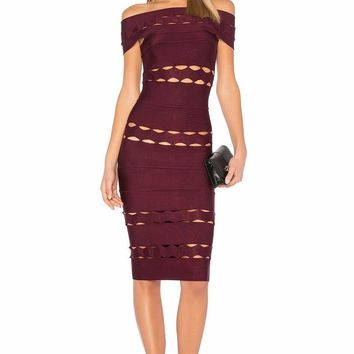 Justine Burgundy Off Shoulder Bandage Dress
