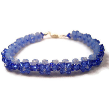 Beaded Bracelet Blue Flower Beadwork