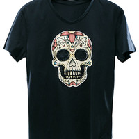 Black Multicolor Skull Printed T-shirt