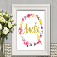 Personalized Name print Watercolor name wall art Pink and gold Bird art Pink and yellow nursery art Girl gift Custom name printable Download