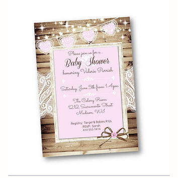 Baby Shower invitation girl rustic shabby chic lace wood printable or printed pink and white bows baby shower invite for girls baby 5x7
