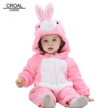 CROAL CHERIE Panda Baby Girls Clothes Animal Newborn Baby Rompers Costume Winter Fleece Clothes For Boys Warm Snowsuit Jumpsuit