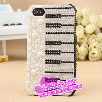 Bling Bling Black and White Pearl Piano iPhone 4 Case Rhinestone Swarovski Piano keyboard iPhone 4S Case Pearl keyboard iPhone 5 Case A37