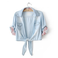 Shirt Collar Washed Denim Short Sleeve Cropped Knot Top