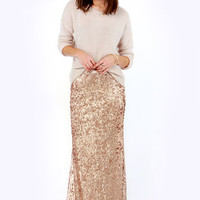 LULUS Exclusive Reign or Shine Gold Sequin Maxi Skirt