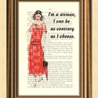 DOWNTON ABBEY WOMAN - Dictionary art -Vintage book page print recycled - Art Print Dictionary