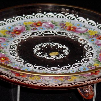 365074 Pingk Glass Low Flat Dish W/Lots Of Painted Flowers Around