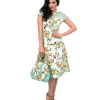 Light Green Birds & Butterflies Tiki Swing Dress