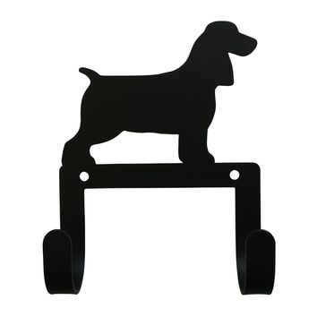 Wrought Iron Spaniel Dog Leash & Collar Wall Hook