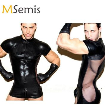 Mens Body Suit Patent Leather Short Sleeves Front Zipper Thong Bodysuit Leotard Wrestling Singlet with Mesh Side Thong Leotard