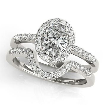 Kourtney Oval Moissanite Halo Engagement Ring