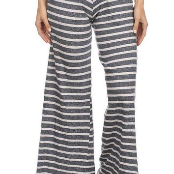 Stripe Terry Knit Wide Cut Pants with Elastic Waistband Pockets and Selvage Hem